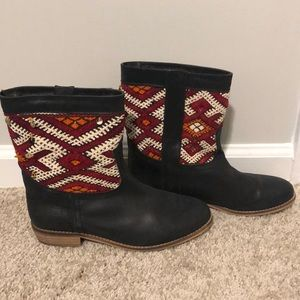 Anthropologie Howsty Black/Multi Leather Boots